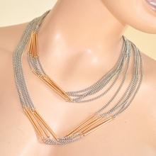 COLLANA LUNGA GIROCOLLO donna FILI ARGENTO ORO ELEGANTE anelli intrecciata necklace collar 260B