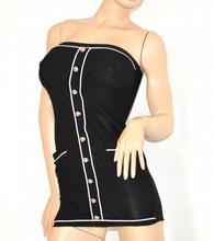 MINI ABITO donna VESTITO elegante NERO sexy Tubino MAXI TOP FASCIA corto aderente dress 115
