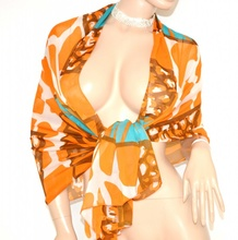 STOLA MAXI donna CORALLO AZZURRO BRONZO coprispalle fantasia foulard elegante seta velata da cerimonia S6