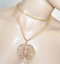 COLLANA lunga donna oro dorata girocollo ciondolo croce strass catena regalo A21