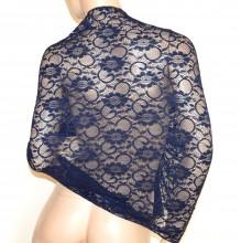 SCIALLE STOLA PIZZO BLU NOTTE foulard 30% SETA ricamato donna coprispalle abito cerimonia G30