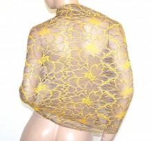 STOLA GIALLA TORTORA pizzo ricamato maxi donna seta coprispalle foulard scialle elegante G65