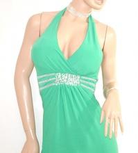 ABITO LUNGO elegante VERDE vestito donna cerimonia da sera strass party festa E10
