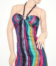 Abito lungo vestito donna multicolore da sera copricostume colorato 76