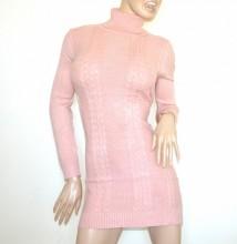 ABITO vestito a maglia ROSA donna maglione collo alto manica lunga maxipull dolcevita G76
