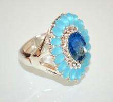 ANELLO ARGENTO donna cristalli azzurri pietre celesti elastico molla strass BB10