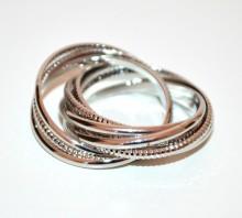 ANELLO ARGENTO donna fedina multi maglie metallo zigrinato silver ring BB4