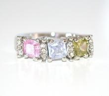 ANELLO donna  argento fedina strass ROSA LILLA VERDI cristalli zirconi idea regalo s valentino E03