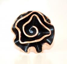 ANELLO donna NERO ORO fiore misura unica regolabile ring elegante cerimonia L30