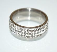 ANELLO fedina argento strass donna brillantini veretta cristalli idea regalo A37