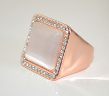 ANELLO ORO ROSATO donna PIETRA BEIGE CIPRIA fascia strass cristalli elegante ring N57