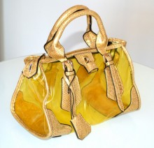 BORSA GIALLA oro donna bauletto trasparente pvc eco pelle rettile bag sac B5