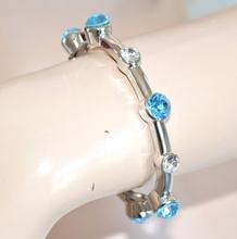 BRACCIALE argento cristalli blu azzurri donna elastico a molla acciaio elegante\da cerimonia, bracelet pulsera armband pulseira браслет 181