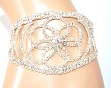 BRACCIALE ARGENTO donna cristalli strass fiore brillantini elegante cerimonia E120