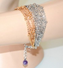 BRACCIALE argento oro donna multi fili catena elegante pietra lilla glicine bracelet GP22A