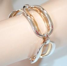 BRACCIALE argento oro dorato donna anelli ovali lucidi semi rigido elegante bracelet BB46
