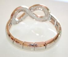 Bracciale donna argento a molla SIMBOLO INFINITO brillantini strass bracelet 675