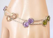 BRACCIALE donna ARGENTO CRISTALLI elegante ragazza bracelet браслет pulsera 430B