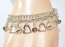 BRACCIALE donna argento elegante ciondoli cristalli cuori catena anelli regalo san valentino Z22