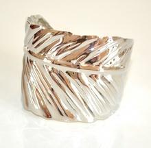 BRACCIALE donna ARGENTO elegante RIGIDO foglia a schiava armband bracelet E87