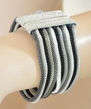 BRACCIALE donna argento platino grigio nero fili polsiera magnete bigiotteria F325