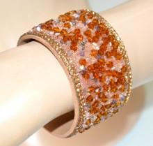 BRACCIALE donna cristalli perline ambra bronzo argento fascia rigido strass BB18