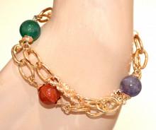 BRACCIALE donna ORO ciondoli pietre rosse verdi viola catena anelli dorato pulsera N94