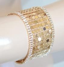 BRACCIALE donna ORO elegante strass dorato cristalli cerimonia party pulsera E08