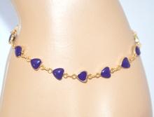 BRACCIALE donna ORO PIETRE BLU braccialetto dorata ragazza CUORI idea regalo 600