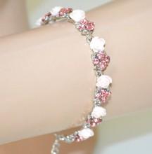 BRACCIALE ROSA CIPRIA argento donna strass cristalli fiori rose cerimonia BB2