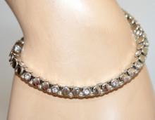 BRACCIALE TENNIS ARGENTO donna strass cristalli catena metallo elegante bracelet N80