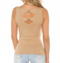 CANOTTA BEIGE NUDO ORO donna top maglia giromanica sottogiacca T-shirt borchie strass AZ44