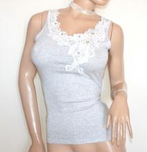 CANOTTA GRIGIO top donna maglia sottogiacca pizzo ricamo perle strass Tank-Top G30