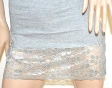 CANOTTA LUNGA GRIGIO top donna sottogiacca pizzo ricamato mini abito cotone A40