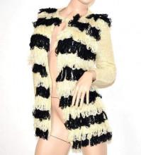 CARDIGAN BEIGE NERO donna maglione aperto maglia manica lunga girocollo F155