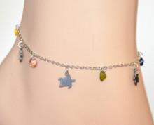 CAVIGLIERA ARGENTO donna acciaio ciondoli tartaruga cristalli blu verdi rosa gialli anklet S73