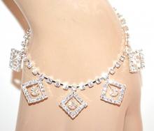 CAVIGLIERA donna argento strass cristalli trasparenti ciondoli brillantini anklet F30