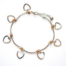 CAVIGLIERA donna strass ARGENTO cristalli ciondoli cuore sexy idea regalo ambra tobillera  5L