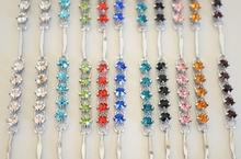 Cavigliere donna estive argento con strass\cristalli colorati - 10 colori