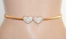 CINTURA donna ORO CUORI strass stringivita dorata fibbia gioiello elastica belt S61