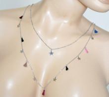 COLLANA ARGENTO ciondoli luna donna girocollo acciaio multi fili collier necklace BB35