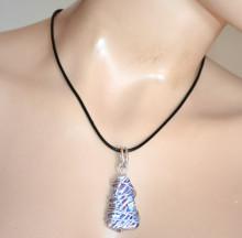 COLLANA CIONDOLO donna pietra argento blu bianco rosso laccio nero pendaglio collar S95