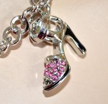 COLLANA donna argento GIROCOLLO ciondoli scarpe sandali strass cristalli elegante gioiello cerimonia catena anelli 143A
