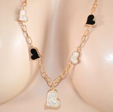 COLLANA donna LUNGA ORO CIONDOLI cuore laccio brillantini STRASS collier 510