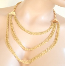 COLLANA donna oro dorata girocollo multi fili elegante cerimonia collier colar A41