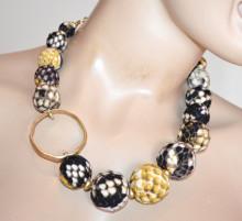 COLLANA donna oro dorato nero giallo girocollo collier sfere anelli collar necklace S15