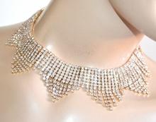 COLLANA donna oro strass cristalli girocollo collarino elegante collier A82