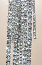 COLLANA LUNGA argento donna cristalli fili strass brillantini collier sposa BB36