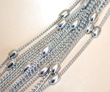 COLLANA LUNGA donna ARGENTO strass pietre maglia anelli elegante da cerimonia collier E23