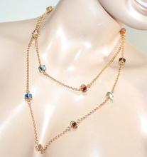 COLLANA LUNGA donna oro dorata girocollo catenina cristalli ciondoli elegante G3